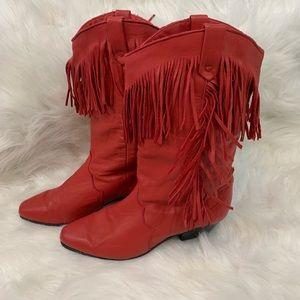 Vintage Dingo Red Fringe Cowboy Boots